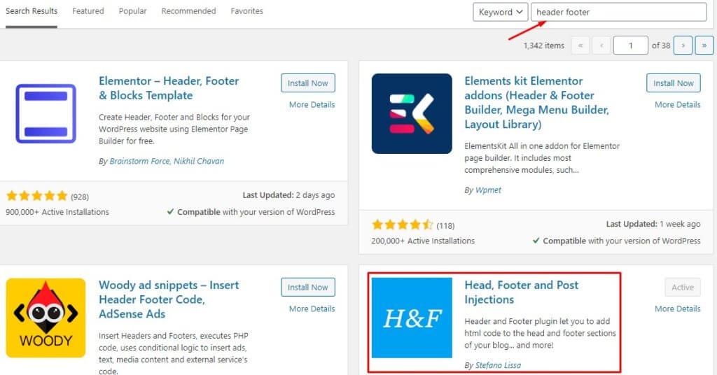 Header Footer WordPress Plugin