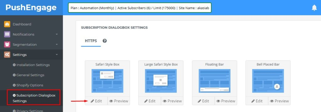 edit subscription dialog box