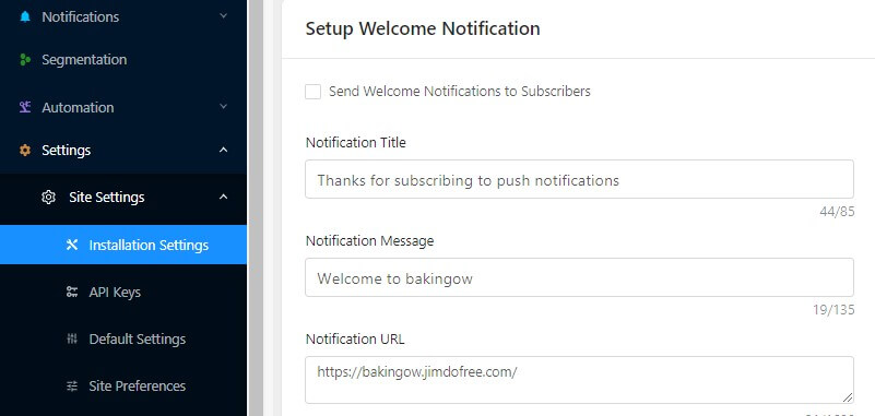 setting up welcome notification