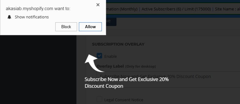 subscription optin preview in Shopify store