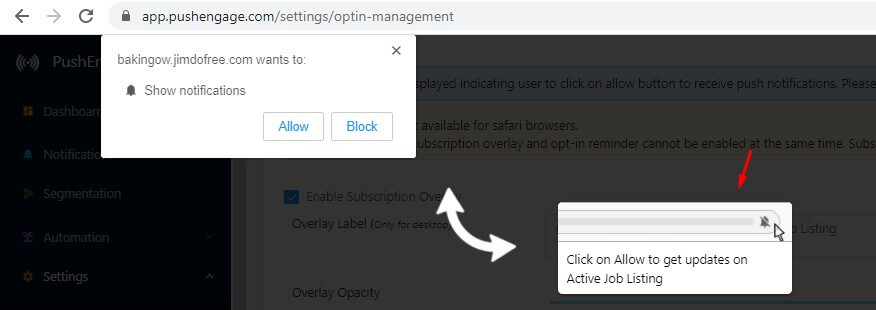 subscription overlay in job site