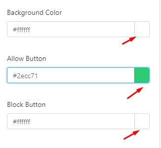 color scheme in push notification optin