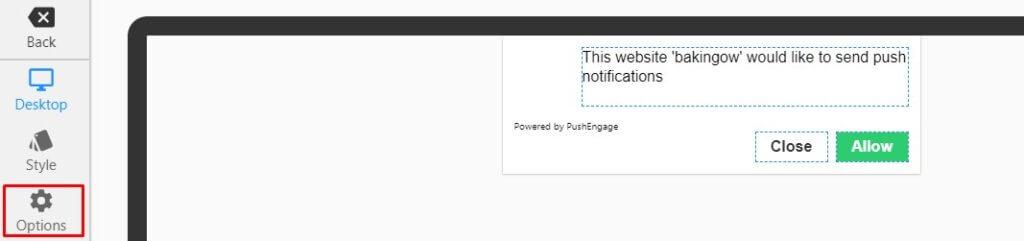 desktop options in push notification optin