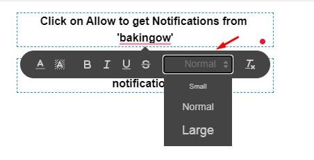 font size in push notification optin