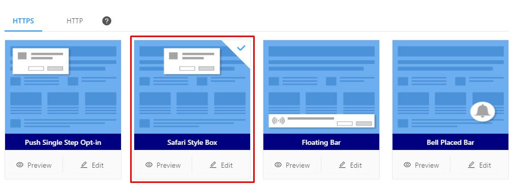 select safari style push notification optin