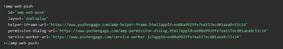 AMP Web Push HTML configuration