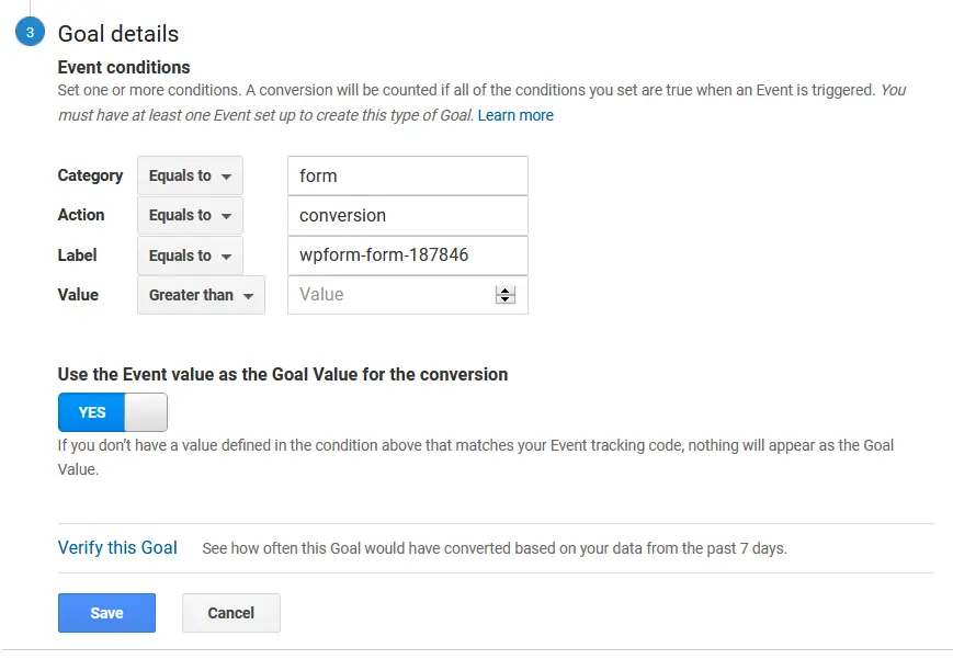 Google Analytics eCommerce Goals