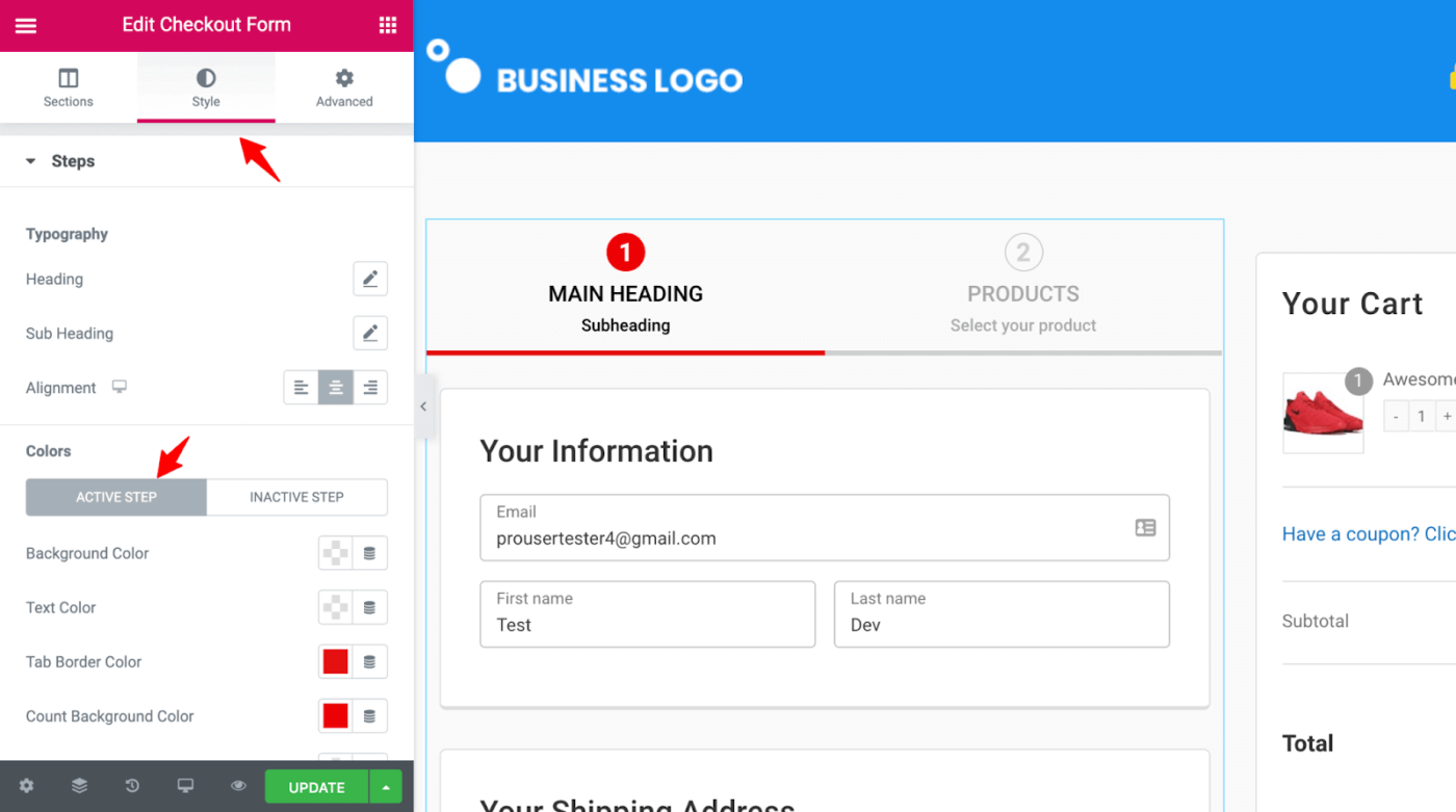 SeedProd Checkout Progress Bar