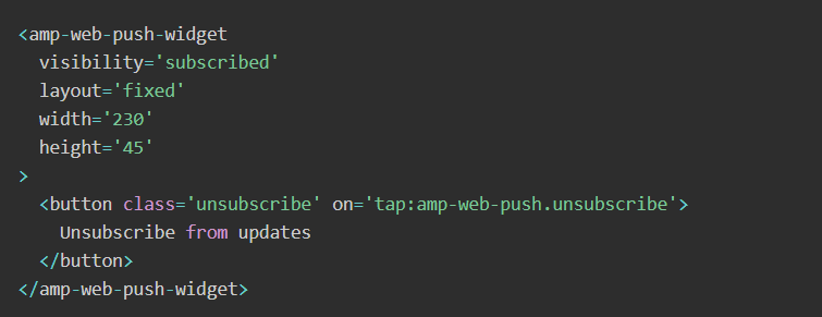 Unsubscribe from updates` button.
