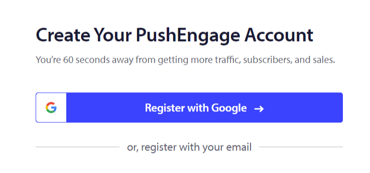 Create PushEngage Account