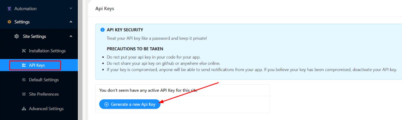 Create new API Key