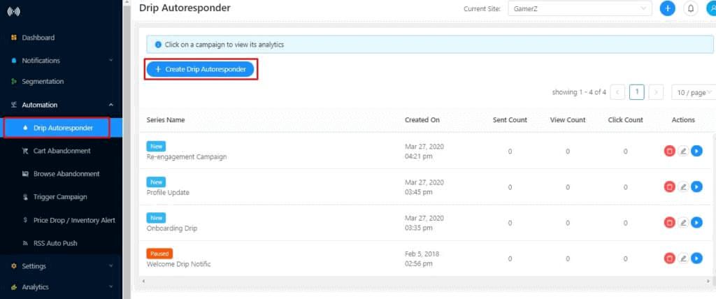 Create drip autoresponder push notification campaign