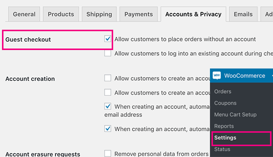 Guest checkout for WooCommerce