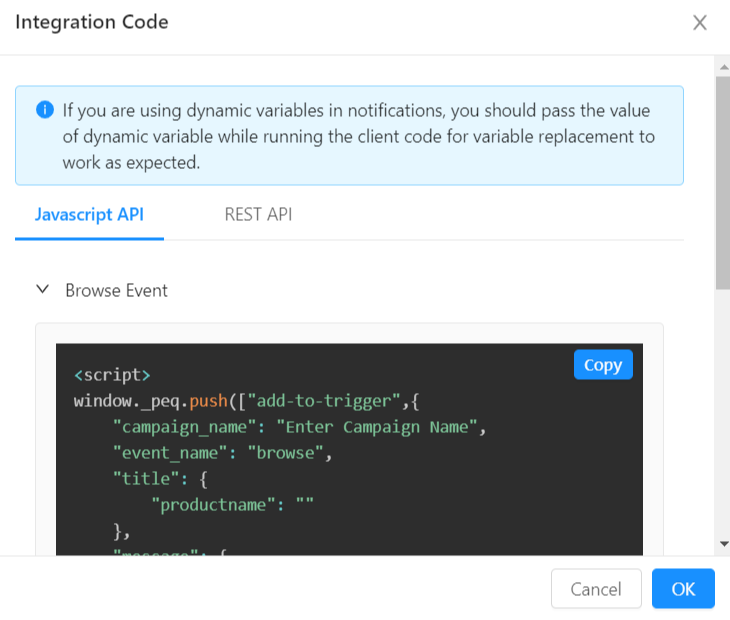 Integration code for automated push notifications