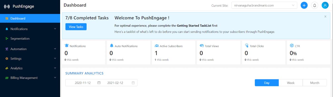 PushEngage dashboard
