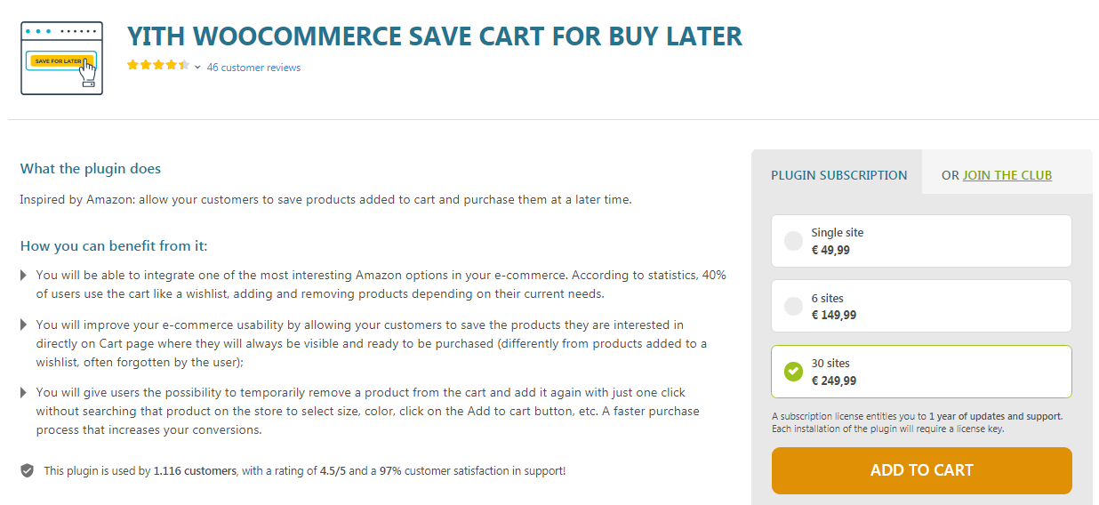 Save for Cart WooCommerce