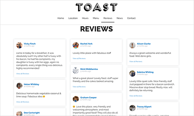 reviews and testimonial page example