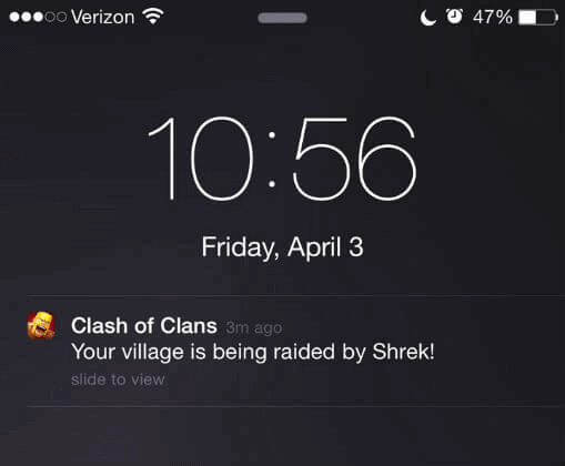 Clash of Clans push notification