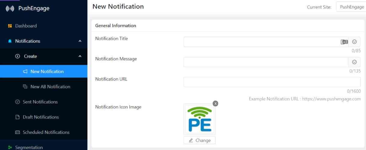 Create New Push Notification