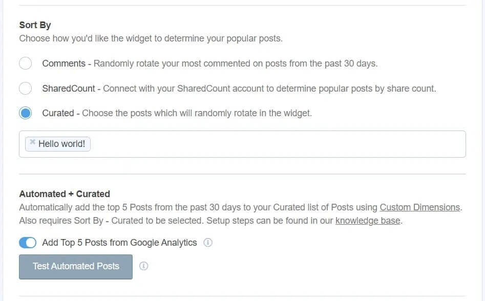 MonsterInsights top posts from Google Analytics