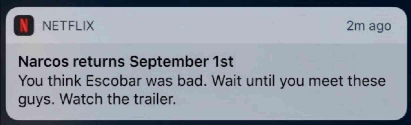Netflix rengagement push notification