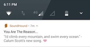 SoundHound app notifications