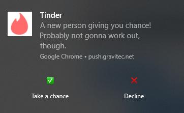 Tinder FOMO push notification