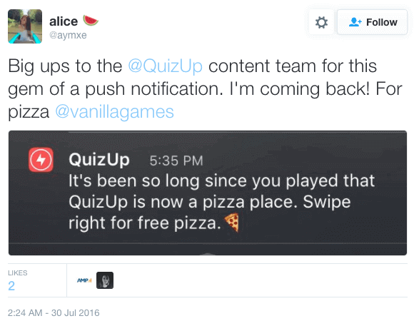 quizup personalized push notification