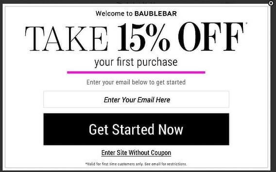 Baublebar Welcome Popup