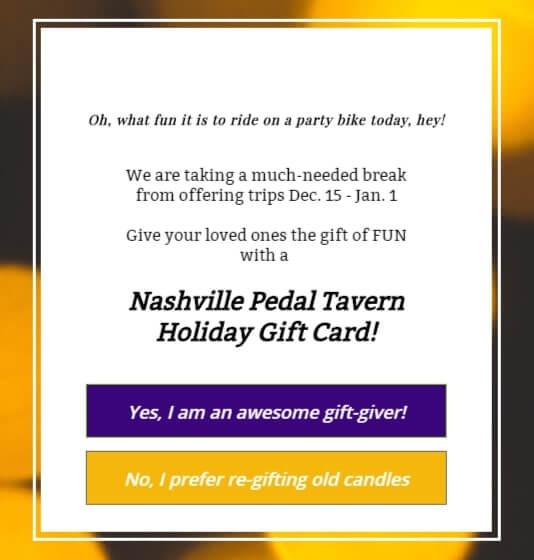 Nashville Pedal Tavern Gift Card