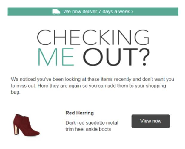 Debenhams Browse Abandonment Email Examples