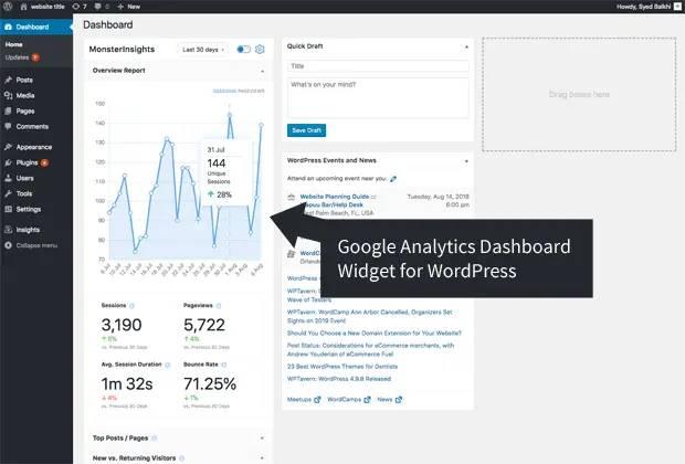 Google Analytics WordPress plugin widget