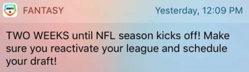 NFL season push notification reminder