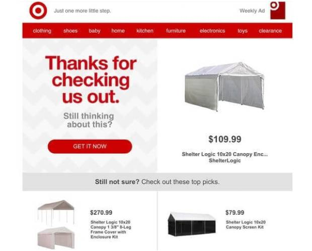 Target Browse Abandonment Email Examples