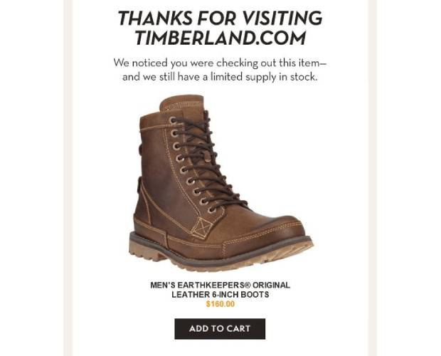 Timberland Browse Abandonment Email Examples