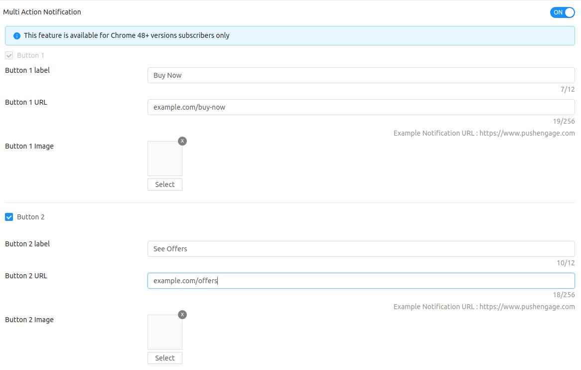 push notification CTA buttons