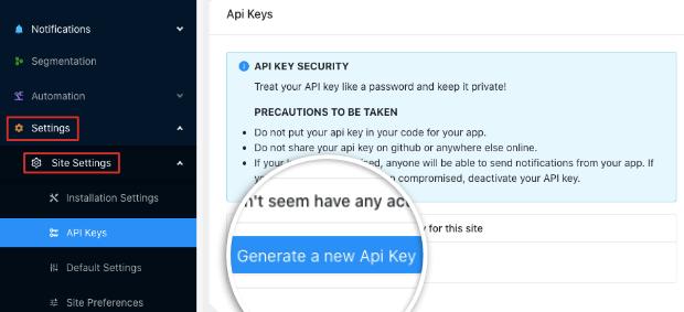 PushEngage API Key