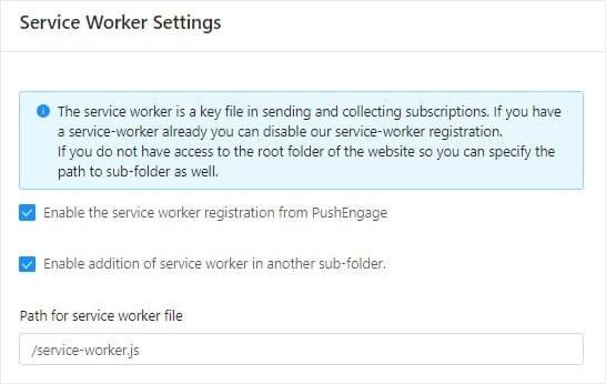 Service Worker Settings