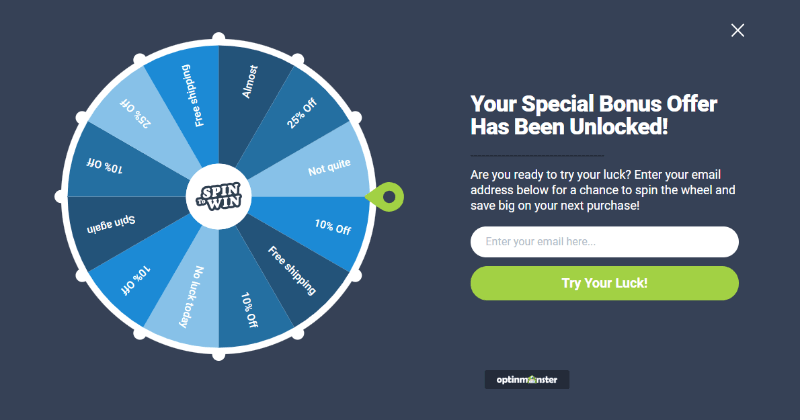 Spin the wheel popup campaign